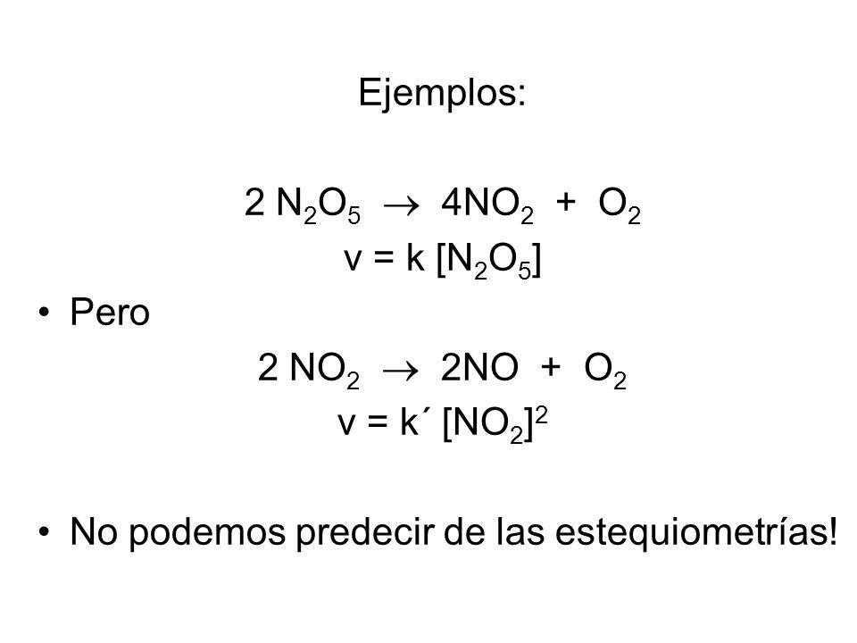 Ejemplos: 2 N2O5  4NO2 + O2. v = k [N2O5] Pero.